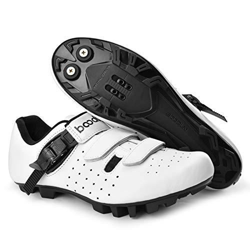 Zapatillas De Ciclismo para Hombre, Zapatillas De Ciclismo De Carretera Profesionales Antideslizantes, Zapatillas De Bicicleta De Refuerzo Ultraligeras Y Transpirables para Exteriores (Blanco)