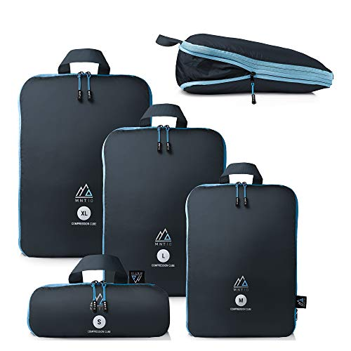 MNT10 Packtaschen mit Kompression S, M, L, XL I Blau I Packwürfel mit Schlaufe als Koffer-Organizer I leichte Kompressionsbeutel für den Rucksack (Blau, M)