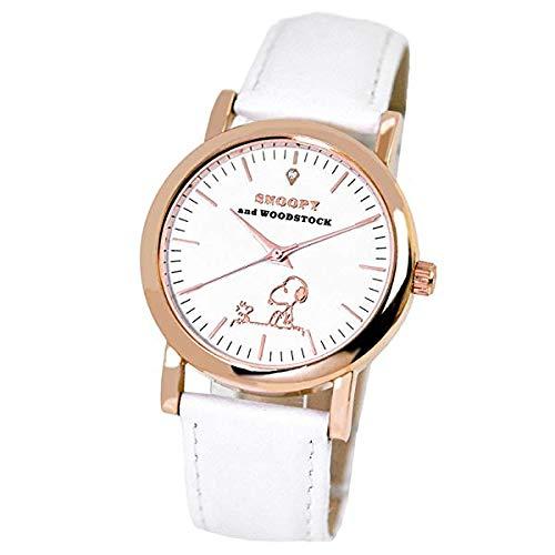 スヌーピー 腕時計 天然ダイヤモンド 本革 白ベルト ダイヤカード付き ウッドストック レディース メンズ ユニセックス 時計 SNOOPY 革 ベルト WATCH (ホワイト/巾着+紙袋セット) [並行輸入品]