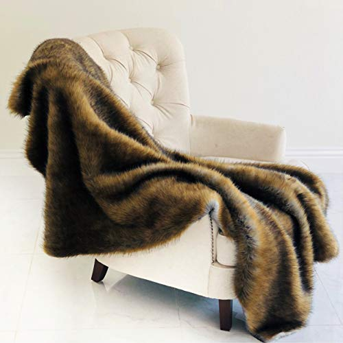 Affordable Plutus Brands Brown/Grey WildGrizzly Bear FauxFur Blanket102x116 Blanket, 102L x 116W California King