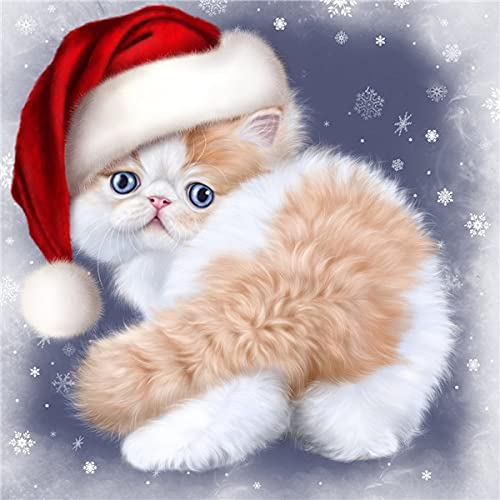 5d Diamond Painting Cat Kits Diamond Mosaic Full Christmas Cap Pictures Of Rhinestones Handmade Gift A6 45x60cm