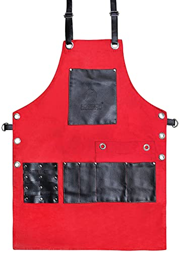 FORGICA PU Leather Apron for Men-Chef Aprons for woman with pockets-Apron also use for kitchen, Grilling, cooking, waitress, barber, work- Red and Black