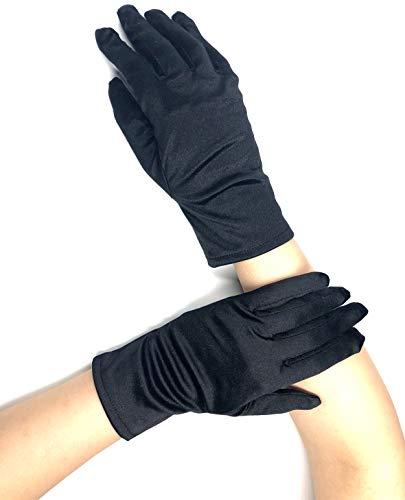 PANAX Edle kurze Damen Handschuhe aus elastischem Satin in Schwarz - Gloves in Einheitsgröße für Frauen, Hochzeiten, Oper, Veranstaltungen, Fasching, Karneval, Tanzen, Halloween…