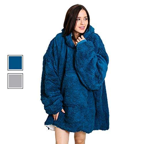 Roore Oversized Sherpa Wearable Blanket Hoodie | Super Soft Warm Comfy Reversible Hooded Sweatshirt Thick Plush Giant Pullover Fleece Sweater for Adult Men Women Teens Kids Blue