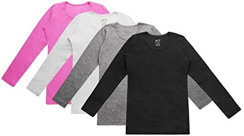 Brix Girls Long Sleeve Tees 4 Pack Crew Neck Super Soft Cotton T Shirts 5 6 product image
