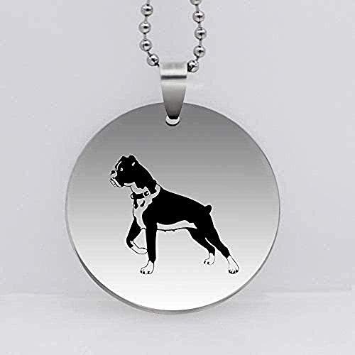 ZGYFJCH Co.,ltd Collar con Colgante de Perro Boxer de Acero Inoxidable 316L, Collar con Personalidad Divertida, Regalo de joyería Animal para Mujer