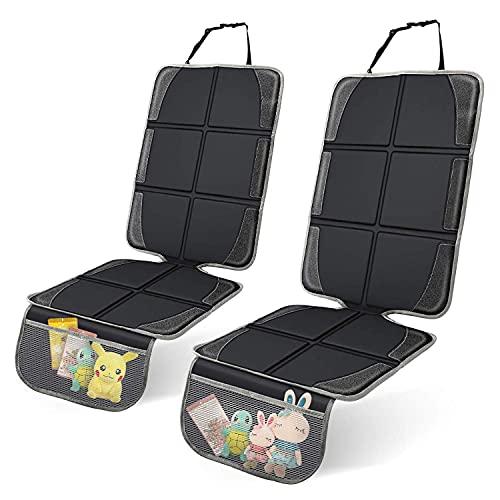 Canby Protector para asiento de coche con bolsillo de almacenamiento, color negro, 2 unidades