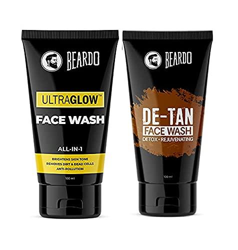 Beardo Ultraglow Facewash & De-tan Facewash for Refreshing Skin | Made in India (Pack of 2)