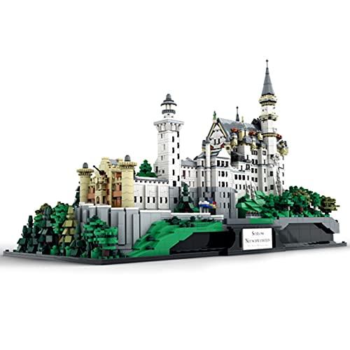 Okle Schloss Neuschwanstein Modular Haus Bausteine, Groß Prinzessin Schloss, Modulares Gebäude, Architektur Moc Bauset Modell kompatibel mit Lego - 7437 Teile