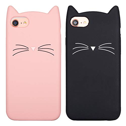 LCHULLE 2 Pack for iPhone SE 2020 iPhone 7 iPhone 8 Cat Case Lovely Cute 3D Cartoon Meow Cat Ears Ultra Slim Soft Silicone Case Anti-Scratch Shockproof Protective Cover for Girls Women - Pink & Black