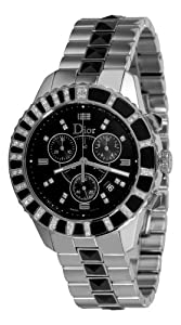 Christian Dior Unisex CD11431EM001 Christal Chronograph Diamond Black Dial Watch Sale and Reviews and review image
