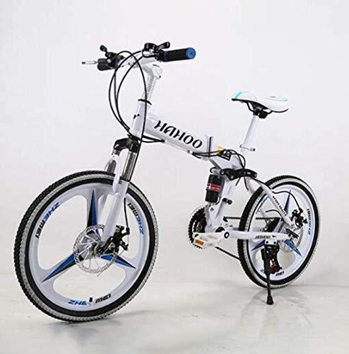 WHEEJE Carbon Steel 20' Mountain Bike Folding Bikes, Featuring 3 Spoke Double Disc Brake Full Suspension Antislip, Suspension Fork (Color : White)