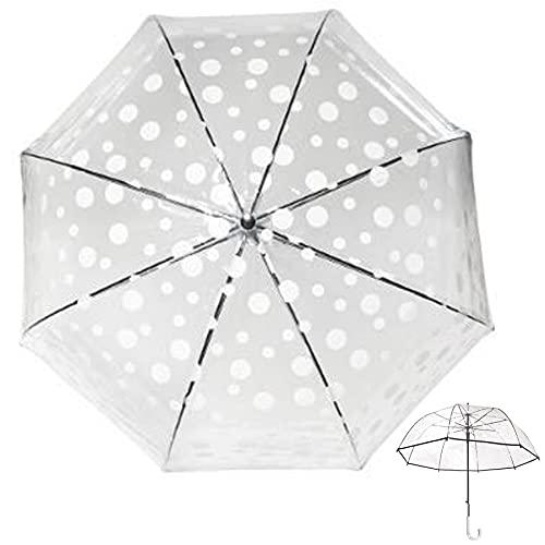 J.S ONDO Paraguas Transparente Bastón Plegable, 90cm Cerrado Mujer, Paraguas Automático, 8...
