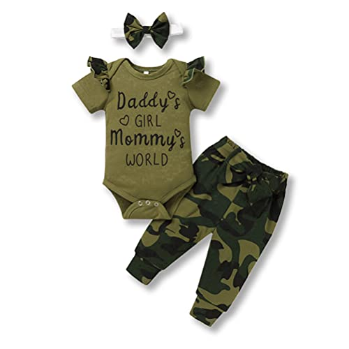 Newborn Daddys Girl Mommys World Camouflage Outfits Short Sleeve Ruffle Romper Camo Pants Headband Set (Green-1, 3-6 Months)