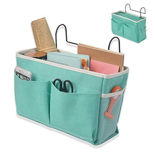 Bolsa de cama con gancho de hierro para colgar mesita de noche, Organizador de estantes de almacenamiento, organizador de cama, organizador de escritorio para casa, oficina, escuela (verde)
