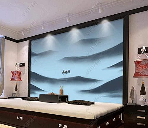 Papel tapiz Mural Calcomanía de pared Tinta Montaña Barco Río Paisaje Murales de pared Papel tapiz para dormitorios Sala de estar Mural de pared Fondo de TV Decoración del hogar-177x118 inch