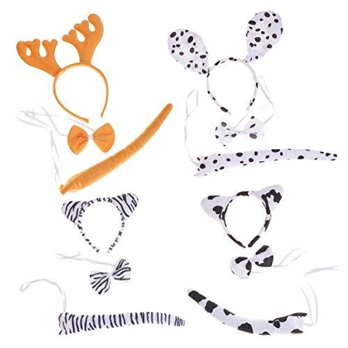 Happyyami 4 Set Costumi per Bambini per Bambini con Archetto Archetto Coda Halloween Costumi Cosplay di Natale (Corna di Renna Spotty Dog ??Zebra Mucca)