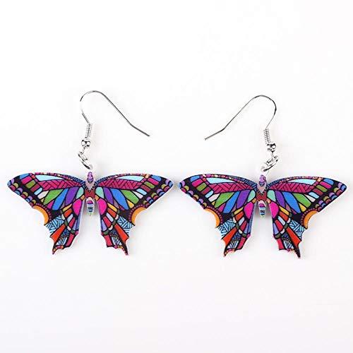 N\A Pendientes de Mariposa Colgantes Pendientes Largos de acrílico de joyería de Animales de Dibujos Animados Linda Chica Pendientes de Mujer