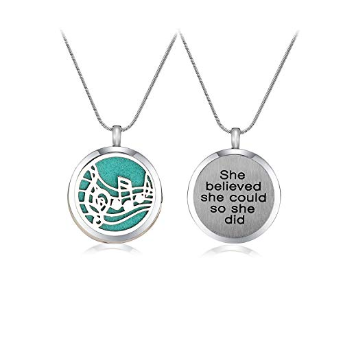 Azneck Music Note Women Essential Oil Diffuser Necklace for Women Aromatherapy Pendant Locket Jewelry She Believed she Could so she did (006)