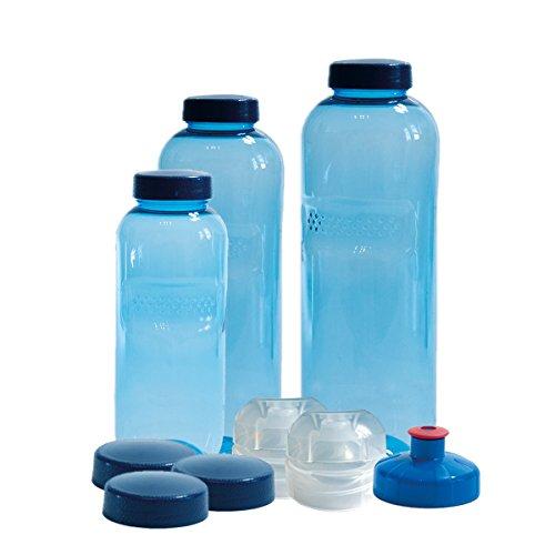3 x Original Kavodrink TRITAN Trinkflaschen 100% ohne Weichmacher und Schadstoffe Set: 1x1 Liter (rund), 1x 0,75 Liter (rund), 1x0,5 Liter (rund) mit verschiedenen Deckeln