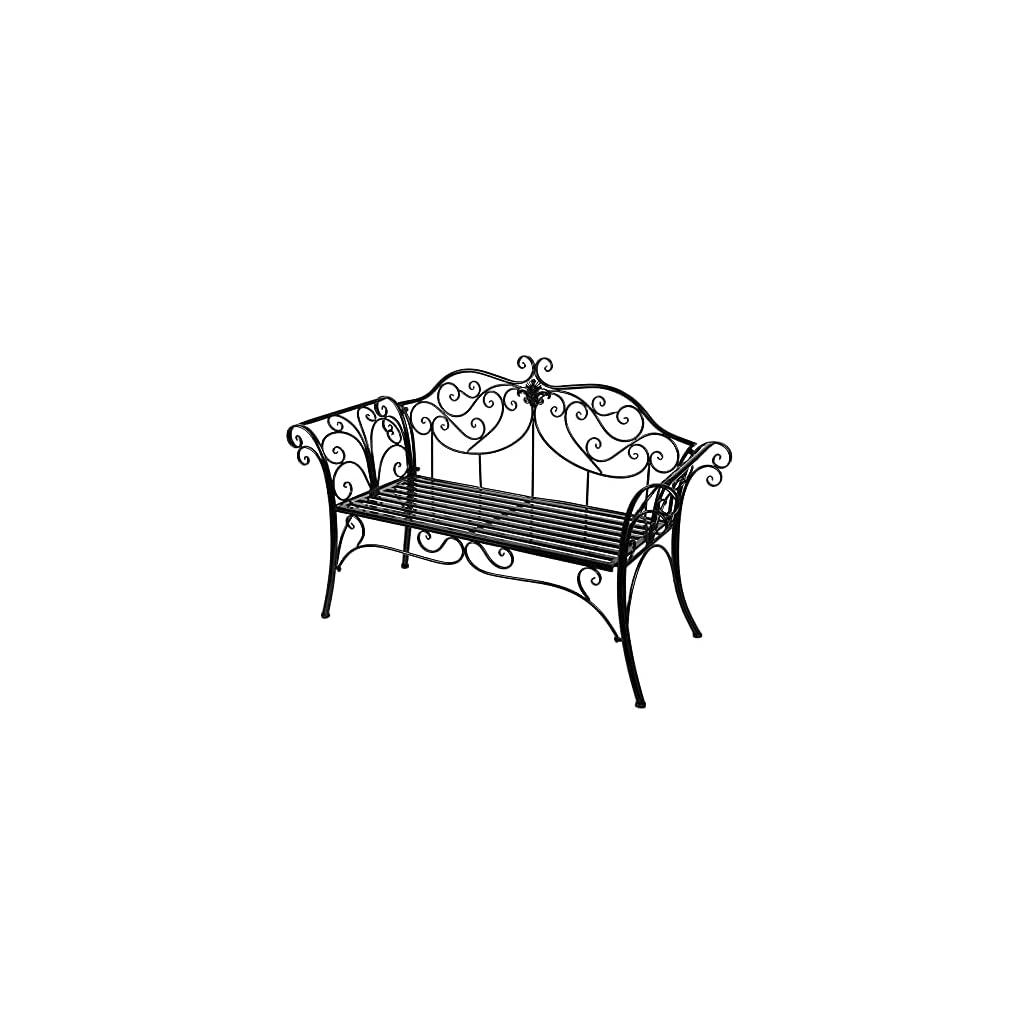 Chaise de Banc de Jardin en Métal 2 Places, Banc de Parc de Balcon Extérieur, Sièges de Porche en Fonte Résistants Aux…