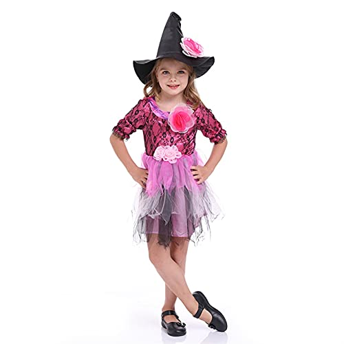 YUHUA-SHOP1983 Vestido de Traje de Bruja de Chicas, Fiesta de Halloween Cosplay Traje 2 PCS (Color : Purple, Size : M)