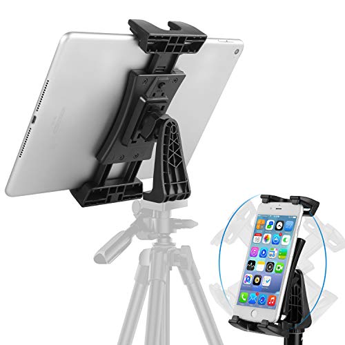 Tablet Tripod Mount Adapter, Protable Ipad Tripod Mount Recording Video & Photo with 1/4 Inch Thread, 360°Rotatable Tablet Clamp Holder for Tripod, Monopod, Selfie Stick, Tabletop Stand etc
