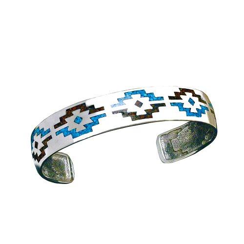Indianerschmuck Armreif Navajo Design Türkis Koralle Chip Inlay Westernschmuck