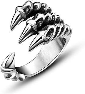 خاتم حاد مخلب الذيل الدائري أنثى الرجال الفضة الاستبداد شخصية مفتوحة مجوهرات الدائري