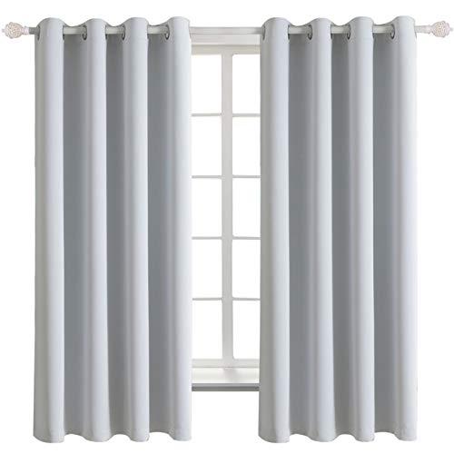 BGment 2er Set Gardinen Vorhang Dunkel Grau-Weiß Blickdicht mit Ösen,Doppelpack Platinum Verdunkelungsgardine,137 x 117 cm (H x B),leicht schwere Vorhänge Wohnzimmer Schlafzimmer