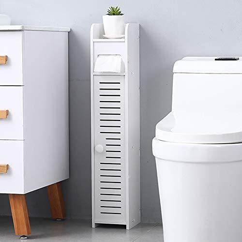 White Small Bathroom Storage Corner Floor Cabinet with Doors and Shelves,Toilet Tissue Storage Tower Shelf, Narrow Bath Sink Organizer, Towel Storage Shelf for Paper Holder,Model 2