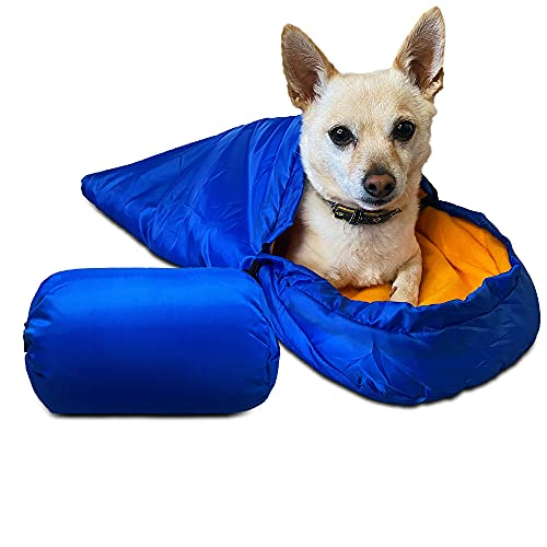 Vegapop Blue Sleeping Bag for Extra Small to Small Dogs Or Cats- Portable Warm Waterproof Blanket Dog Bed
