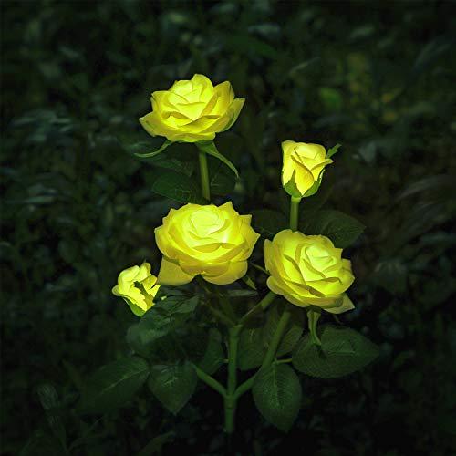 Luces LED decorativas para exteriores con diseño de rosas solares, para jardín,...