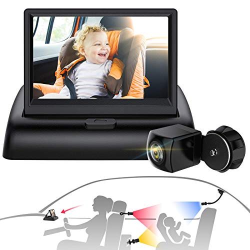 Baby Camera for Car, Sixmas Baby Car Mirror with 3-in-1 Universal Mount, View Infant in Rear Facing Seat with Wide Crystal Clear View, Camera aimed at baby-Easily to Observe The Baby's Every Move