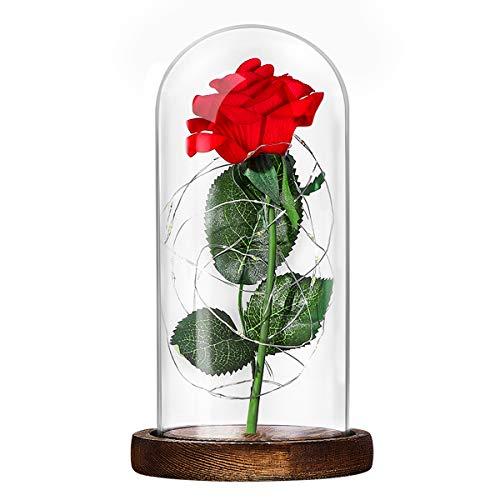 1 guirnalda de luces LED con forma de rosa y la abeja roja en cristal sobre base de madera marrón para regalo de San Valentín.