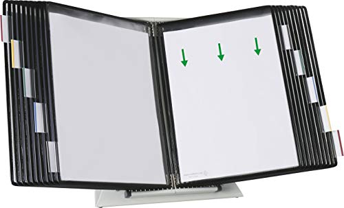 Tarifold Desktop Reference and Display System 20 Double-Sided Display Pockets 40 Sheet Capacity Letter-Size Black Pockets D272