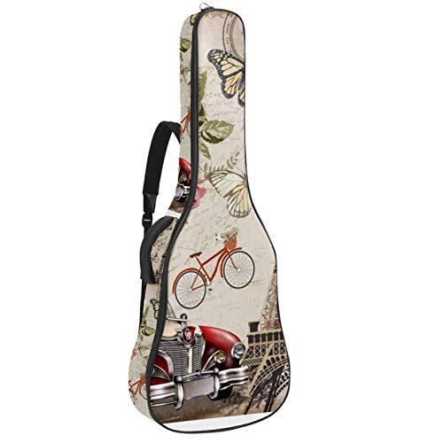 Bolsa para guitarra con diseño retro de la Torre Eiffel y el coche impermeable, tela Oxford, con correa ajustable para el hombro