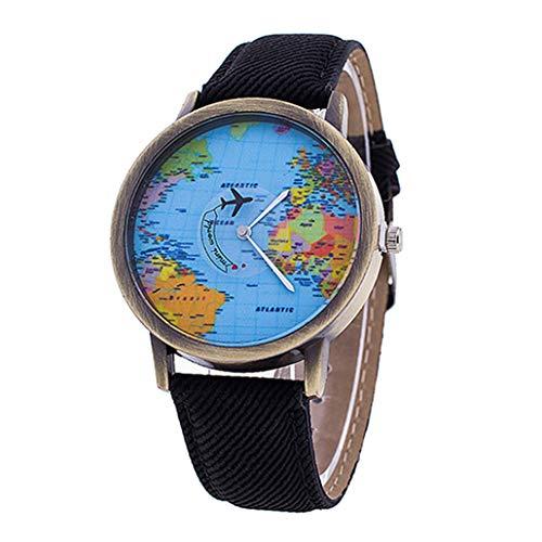 Collectsound - Orologio da polso analogico al quarzo, con mappe del mondo, cinturino in tessuto denim, regalo per studenti, colore: nero