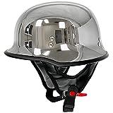 Outlaw Helmets T99 Silver Chrome German Style Motorcycle Half Helmet for Men & Women DOT Approved - Adult Unisex Skull Cap for Bike Scooter ATV UTV Chopper Skateboard (Large)