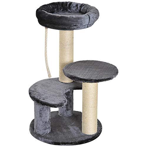 Árbol Rascador para Gato con 3 Niveles y Cuerda Colgante Plataformas en Felpa y Postes con Cuerda de Sisal Natural Ф40x65cm Gris