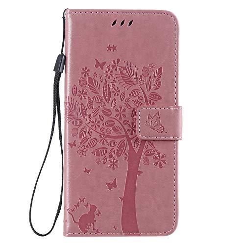 Miagon für iPhone 11 Pro (5.8 Zoll) Geldbörse Wallet Case,PU Leder Baum Katze Schmetterling Flip Cover Klapphülle Tasche Schutzhülle mit Magnet Handschlaufe Strap