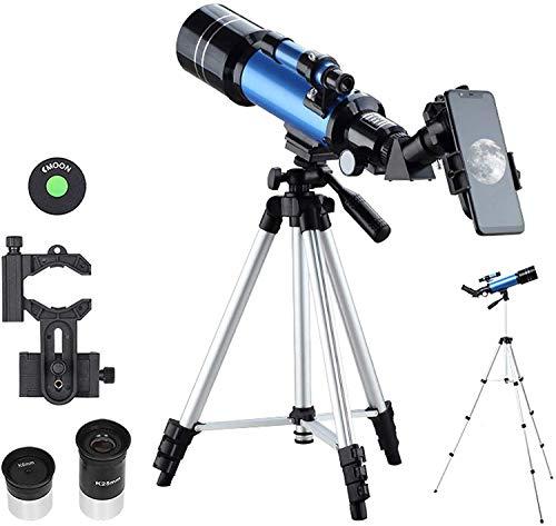 lqgpsx Telescopio National Geographic, con visión Clara de luz débil, Lente Totalmente recubierta, telescopio Refractor de astronomía portátil con trípode, Adaptador de teléfono,