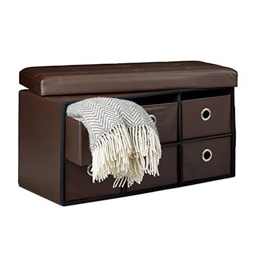 Relaxdays Banco/Taburete 6 Compartimentos de Almacenamiento, 38 x 76 x 38 cm, Cuero Sintético, Plegable, Color marrón, Piel
