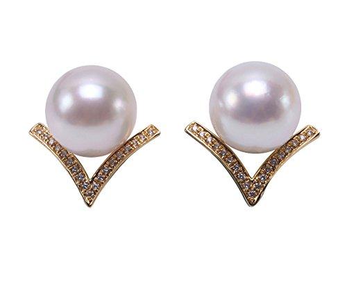 JYX - Pendientes de perlas japonesas Akoya blancas de oro de 18 quilates, 8,5 – 9 mm