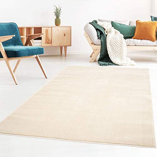 Kurzflor-Designer Uni Teppich extra weich fürs Wohnzimmer, Schlafzimmer, Esszimmer oder Kinderzimmer Gala Natur weiß 080x150 cm