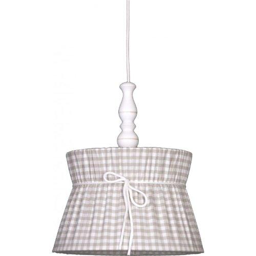 Livin-design Cousue Abat-Jour Carreaux Gris Clair 25/30/20 cm avec Suspendu Câble, Bois Élément.