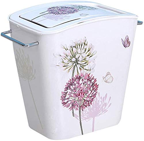 ZLJ Vintage Decorative Trash Can Floral Pattern Hinged Lid Trash Can Rustic Trash Can for Kitchen Living Room Recycling Bin (Color: isize: 27x27x29cm (11x11x11inch))