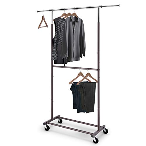 Simple Trending Double Rod Clothing Garment Rack, Rolling Clothes Organizer on Wheels for Hanging Clothes,Bronze