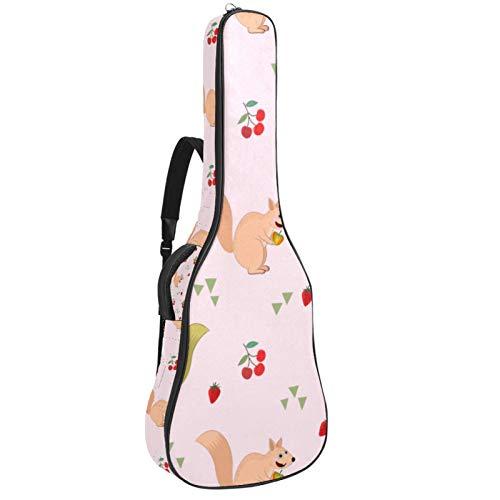 Bolsa para guitarra impermeable con cremallera suave para guitarra, bajo, acústico y clásica, para guitarra eléctrica, ardilla, fruta