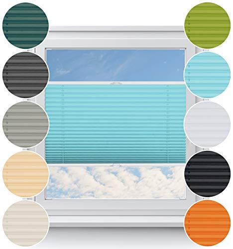 Rollo Studio Thermo Plissee nach Maß, Montage in Glasleiste, Verdunklung Rollos, Bohren im Fenster, Verdunklungsrollo für Fenster, Balkontür, Sonnenschutz und Sichtschutz, Türkis